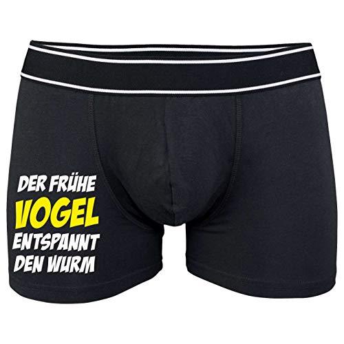 Spaß kostet Männer Boxershort mit Spruch Der frühe Vogel (Größe S bix XXL)