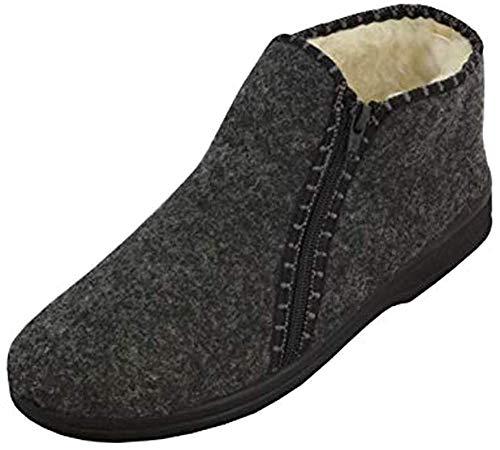 BAWAL Pantofle da Uomo con Zip Scarpe da Casa Caldo Inverno Riscaldato con Lana 40-46 EU (41, Grigio con Zip)