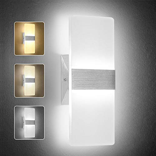 OOWOLF Lámpara De Pared Interior, 7W Apliques Pared Led Moderna Regulable 3 Temperatura De Color (3000K, 4500K, 6000K) Lámpara de Decoración Para Corredor, Dormitorio, Escalera