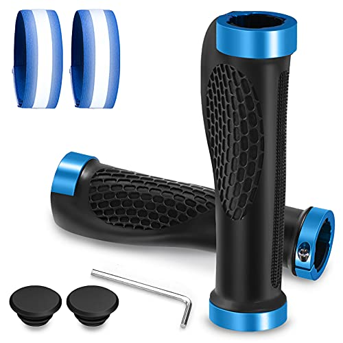 Cikyner Gummi lenkergriffe, Ergonomische Fahrradgriffee Fahrrad Lenkergriffe 22mm Fahrradlenker-Griffe für BMX, MTB, Cityrad Rennrad und Faltrad (Blau, mit 2 Reflektierenden Armbändern)