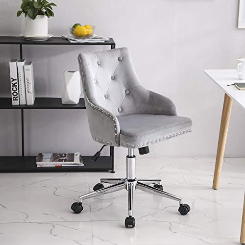Lifetech Grey Velvet Office Chair with Wheels and Arms Velvet Desk Chair Velvet Vanity Chair for Bedroom Living Room (Grey)