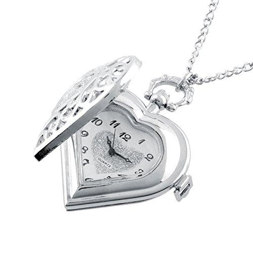 Abeillo Herz Medaillon Stil Herzförmige Taschenuhr Halskette Anhänger für Mädchen Lady Frauen Silber