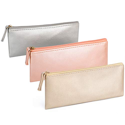 SumDirect 3Pcs Small Makeup Bags Purse, PU Leather Zip Travel Cosmetic Pouch, Simple Pencil Organizer(Pink+Gold+Silver)