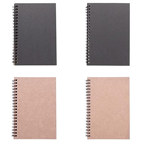 4pcs Bloc de Notas Espiral, Cuaderno en Blanco del Notebook de Bocetos Tapa Dura para Escolar, oficina, Diario de Viaje, 90 Páginas/45 Hojas, 4.7'× 7'