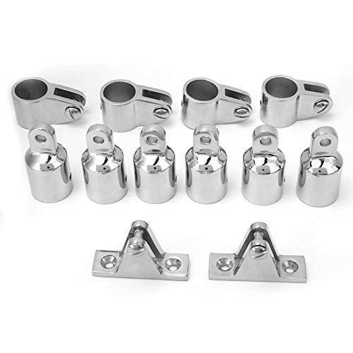 Accesorio para toldo bimini de 3 arcos - Kit de extremo de ojo superior para bimini con mandíbula de montaje en bisagra, 12 piezas