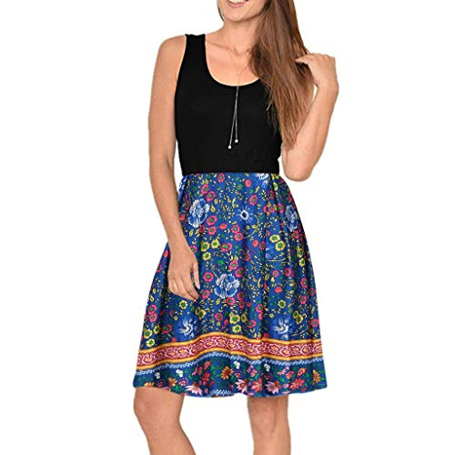 Damen Kleider Sommer V-Ausschnitt Ärmelloses Weste Sexy Kleider Damen Strandkleid Boho Print Lose Baumwolle Nähte Kleid MiniTank Kleid (EU:36, Blau)