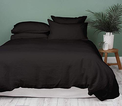 Bedding Basics Premium Duvet Cover Set of 3 Piece 100% Egyptian Cotton Hypoallergenic 600 Thread Count with Zipper & Corner Ties, 1 Duvet Cover and 2 Pillow Shams(Black_King)