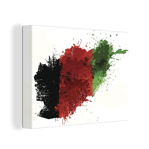 Leinwandbild - Illustration der Flagge von Afghanistan - 120x90 cm