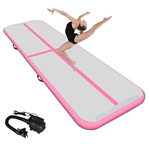 Neolife Airtrack - Esterilla hinchable para gimnasia, esterilla de entrenamiento con bomba de aire, Airtrack Tumbling para casa, exterior, yoga, etc., 3 m, color rosa