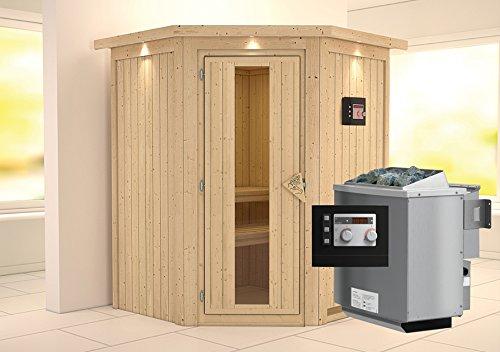 Karibu Sauna Larin inkl. 9-kW-Bioofen mit externer Steuerung, mit Dachkranz, mit energiesparender...