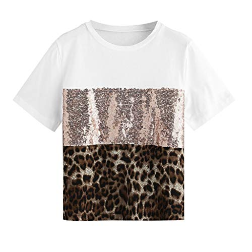NPRADLA Damen Kurzbluse Sommer Kurzarmhemd Sommer Patchwork Pailletten Schlange Leopardenmuster Nette Tops