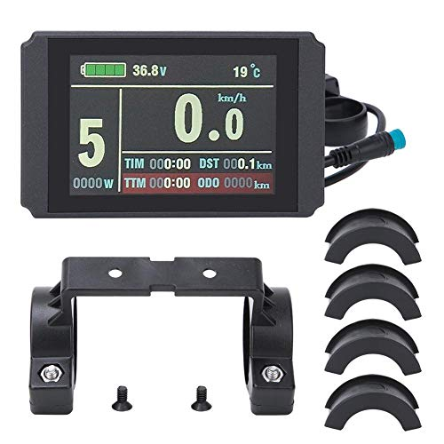 Vbestlife Bike LCD Instrument, KT-LCD8H Intelligent Colorful Screen LCD Instrument with Waterproof Connector, Real-Time Power Consumption Recording