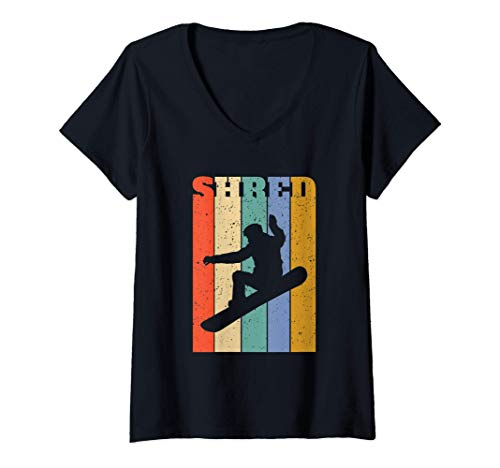 Damen Snowboard-Shredder Retro-Vertikalstreifen T-Shirt mit V-Ausschnitt