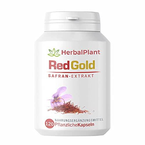 HerbalPlant RedGold Safran-Extrakt   Natürlicher Stimmungsaufheller   100% pflanzlich & vegan   Crocin, Safranal hochdosiertert   Energie, Kraft der Natur   Laborgeprüft   120 Kapseln für 4 Monate