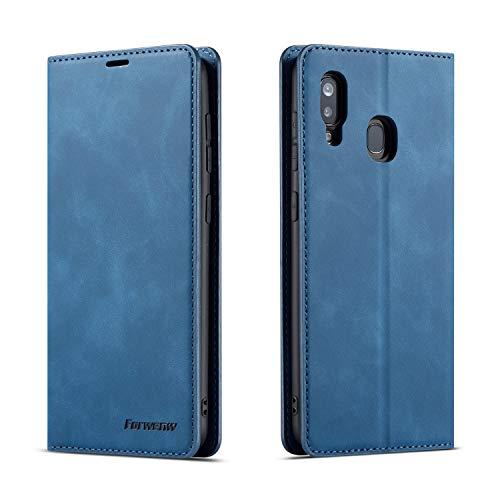 QLTYPRI Hülle für Samsung Galaxy A40, Premium Dünne Ledertasche Handyhülle mit Kartenfach Ständer Flip Schutzhülle Kompatibel mit Samsung Galaxy A40 - Blau