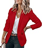 Cicy Bell Womens Casual Blazers Open Front Long Sleeve Work Office Jackets Blazer (Red, Medium)