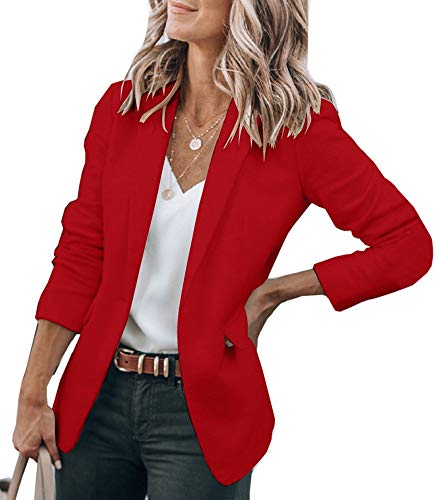 Cicy Bell Womens Casual Blazers Open Front Long Sleeve Work Office Jackets Blazer (Red, X-Large)