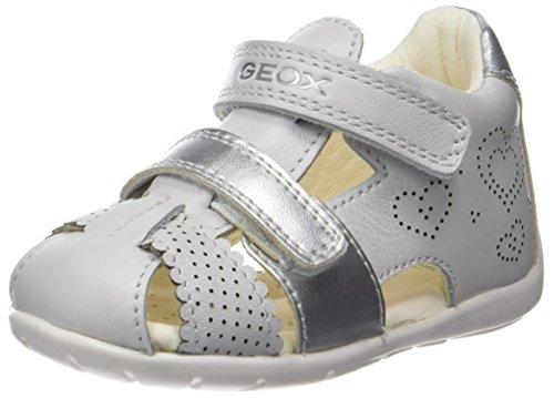 Geox Baby Mädchen B Kaytan C Sandalen, Weiß (White/Silver), 21 EU