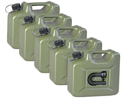5er Set Hünersdorff Benzinkanister 10 Liter Kraftstoff Kanister olivgrün 10L UN-Zulassung Diesel