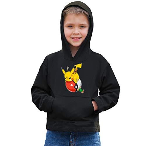 Okiwoki Sweat-Shirt à Capuche Enfant Noir Parodie Pokémon - Sasha et Pikachu - Revenge !! (Sweatshirt de qualité Premium de Taille 11-12 Ans - imprimé en France)