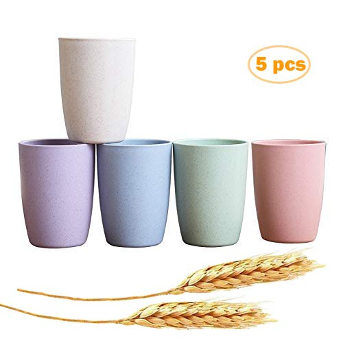 JUCOXO Unbreakable Cups 12 oz BPA Free Wheat Straw Stackable Tumbler Pack of 5 Reusable Bathroom Drinking Cup  Freezer and Dishwasher Safe