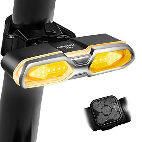 DONPEREGRINO BX2 – LED Luz Trasera Bicicleta 100 Lúmenes con Control Remoto, Luz de Giro Recargable & Luz Freno Bici con Modos Múltiples
