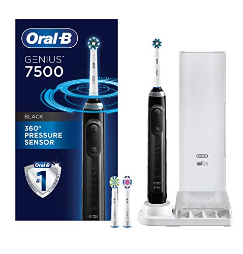 Oral-B 7500 Power Rechargeable Electric Toothbrush with Replacement Brush Heads and Travel Case, Black