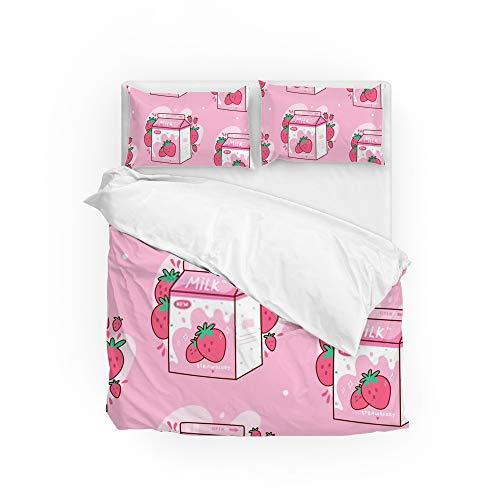 Ruchen Bettwäsche-Set mit Erdbeer-Milch, Kawaii, Anime, Cartoon, Rosa, weich