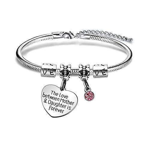 KENYG Pulsera con colgante de plata con diamantes de imitación de plata para el día de la madre, regalo de cumpleaños