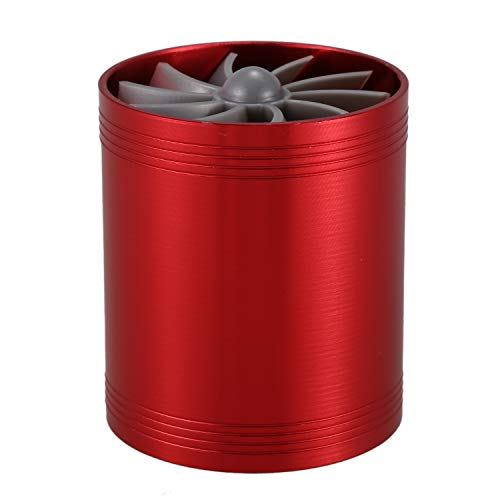 Gaoominy Turbina Doble Turbocompresor Ventilador de Ahorro de Combustible de Gas de AdmisióN de Aire para AutomóVil (Rojo)