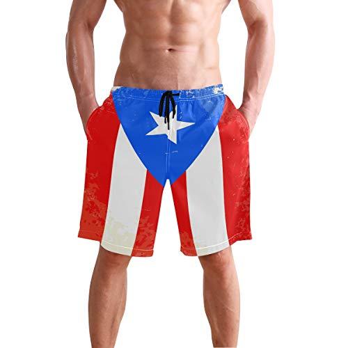 Puerto Rico Flag Herren Trunks Beach Board Shorts Kordelzug Taille Mesh Futter Gr. L/XL, mehrfarbig