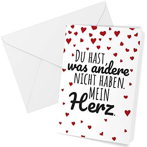 Klappkarte mit Umschlag Liebe Valentinstag Valentinskarte Grußkarte Schöner Spruch Liebeskarte mit Herzen rot