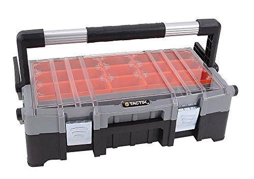 Tactix 320300 Werkzeugkoffer/-trage mit Organizeraufsatz mehrteilig, 15 herausnehmbare Boxen, Aluminiumhandgriff, schwarz - orange-durchsichtig