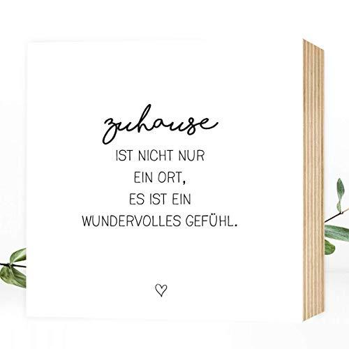 Wunderpixel® Holzbild Zuhause ist.- 15x15x2cm zum Hinstellen/Aufhängen, echter Fotodruck mit Spruch auf Holz - schwarz-weißes Wand-Bild Aufsteller Zuhause Büro zur Dekoration oder als Geschenk-Idee