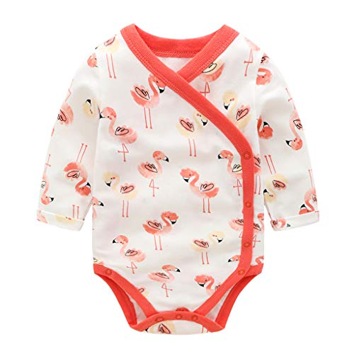 Bebé Mono Unisexo Mameluco Manga Larga Bodys Algodón Pijamas Flamenco Pelele, 12-18 Meses