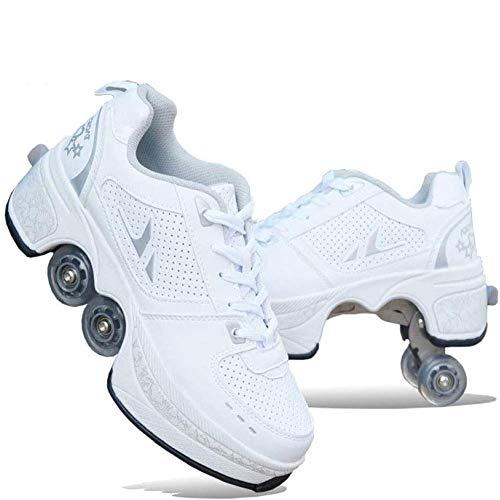 WFZGZ Deformación automática Ruta Invisible Zapatos del patín de Ruedas Desmontable 4 Polea Patinaje Patines 2 en 1 Zapatos Doble Fila Deform Ruedas,Blanco,US3.2/EU3