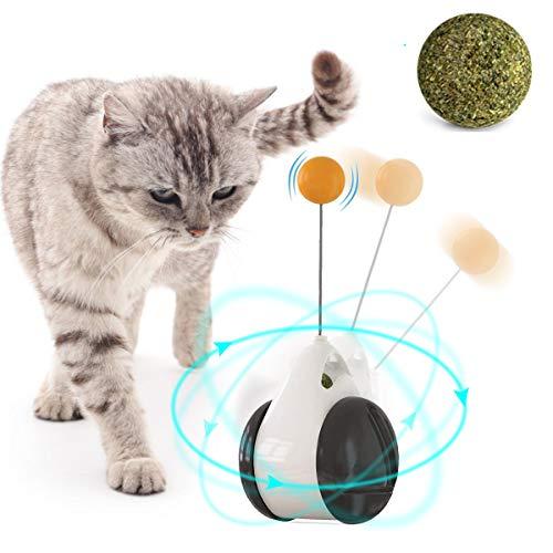 Katzenspielzeug, Interaktives Spielzeug Katzen Tumbler Ball mit 360°raumdrehendem Katzenstäbchen mit Katzenminze