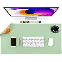 環境にやさしい ナチュラル コルク そして レザー 両面 デスクパッド デスクマット マウスパッド 滑らかな表面 デスクライティングマット 防水 デスクプロテクター テーブルマット (Color : Green1, Size : 80x40cm(31x16inch))