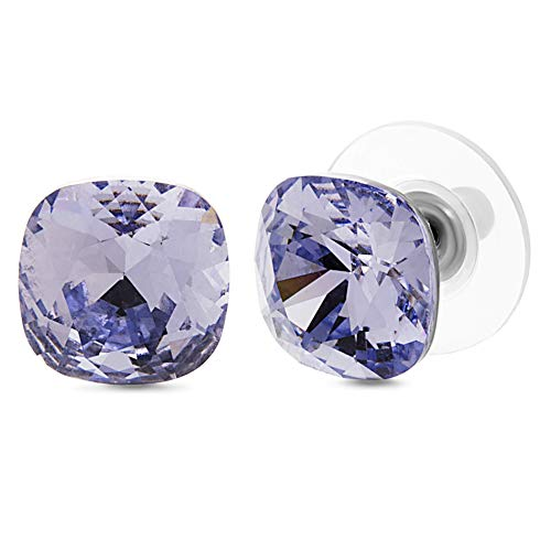 Devin Rose Cushion Solitaire Stud Earrings for Women in Stainless Steel made with Swarovski Crystals ( Light Violet Color)