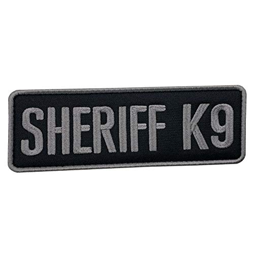 uuKen Embroidery Subdued Gray Grey Deputy Sheriff K9 Unit Department Patch 6x2 inches with Hook Fastener Back for Tactical Vest Jackets Uniform (Black and Gray, Medium 6'x2')