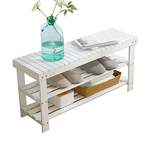 JLXJ Small 2-Tier Shoe Rack for Closet, Bamboo White Shoe Bench Organizer 36 Pair, Multifunction Storage Shelf for Front Door Entry