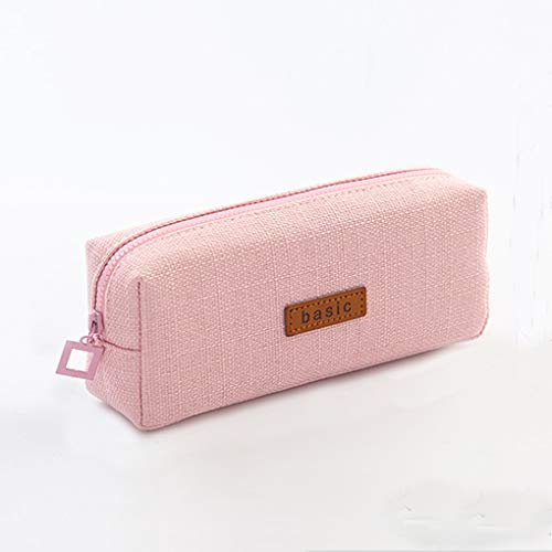 Oyachic Basic Pencil Case Zippered Canvas Pencil Pen Pouch Stationery Organizer Cosmetic Makeup Bags Pink Pencil Holder for School Office
