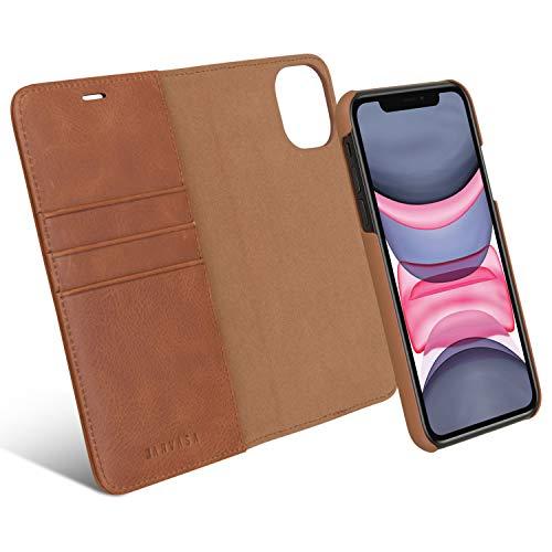 KANVASA Custodia iPhone XR Flip Case Pelle Nero Portafoglio