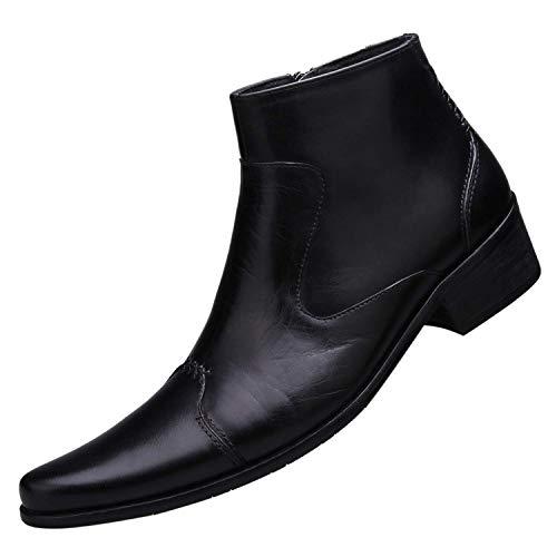 Botas para Hombre Invierno Cuero Moda Pointed Toe Botines de Vestir con Cremallera Negro 41 EU