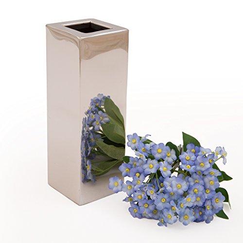 Rosemarie Schulz Silber-Vasen Dekovase Blumenvase Tisch Silber-Chrom kleine Mini Vase (15x5 cm)