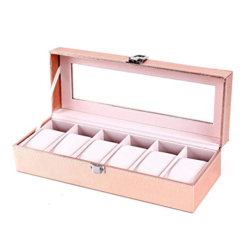 Recet Caja para 6 relojes, joyero con tapa de cristal, cojín de terciopelo, caja para joyas y relojes, forro de terciopelo en color beige