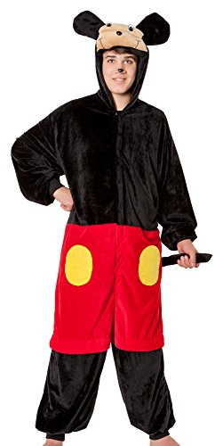 spass42 Herren Kostüm Mouse Plüsch Overall Tiere Maus Micky Mickey Verkleidung Anzug Karneval Unisex Groesse: S/M