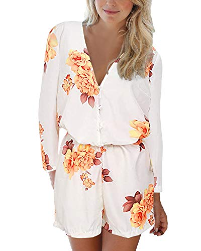 Auxo Women Floral Printed Jumpsuit Button V Neck Long Sleeve Chiffon Romper Shorts Summer Beachwear Mini Playsuit Beige XL