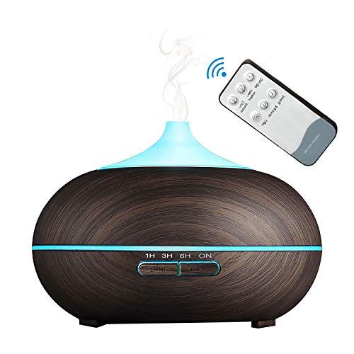 Difusor de aceite esencial de aromaterapia ultrasónico, humidificador de niebla fría de 550 ml con 7 luces de color y 4 temporizadores, función de apagado automático sin agua (Dark Grain)