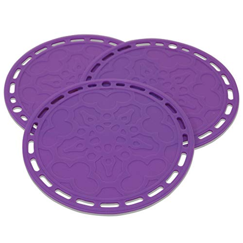 Lucky Plus Big Round Silicone Hot Pads and Trivets for Hot Dishes and Hot Pots, Hot Mats for Countertops, Tables, Pot Holders, Spoon Rest Small Place Mats Set of 3 Color Purple